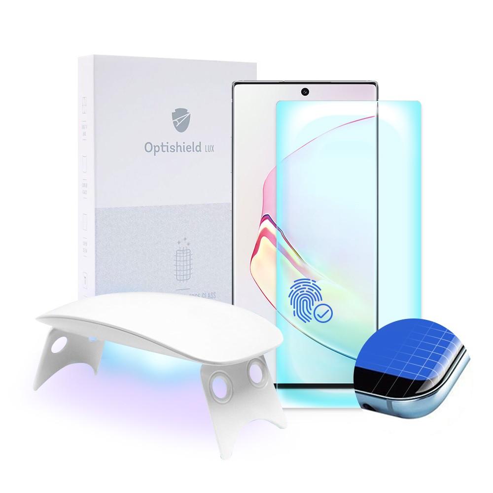 Optishield Lux zaščitno steklo za Samsung Galaxy Note 10+ z UV lučko za lažjo namestitev