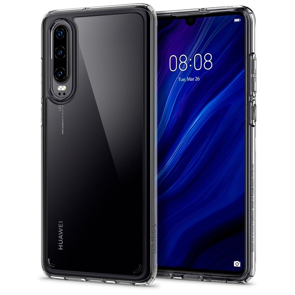 "Primer prozornega ovitka za Huawei P30 - Spigen ""Ultra Hybrid"""